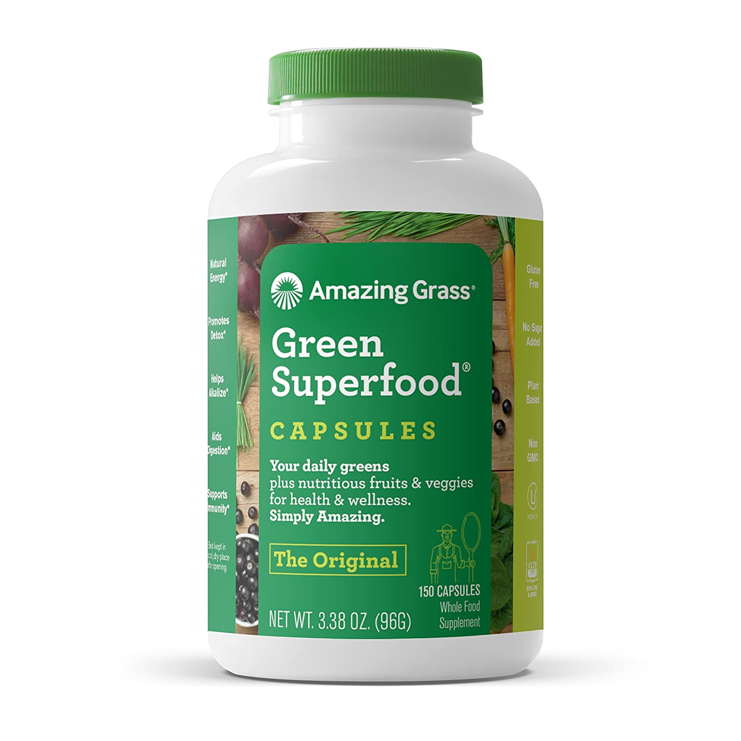 Amazing Grass Green Superfood Capsules Organic Wheat Grass and 7 Super Greens, 3 servings of Greens, Fruits Veggies, 150 Capsules