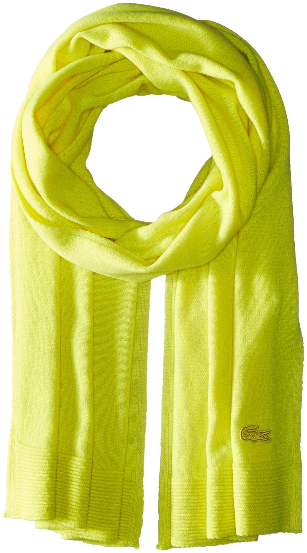 Lacoste Women's solid Fine Jersey Cashmere Scarf, Lemon Tree, One Size