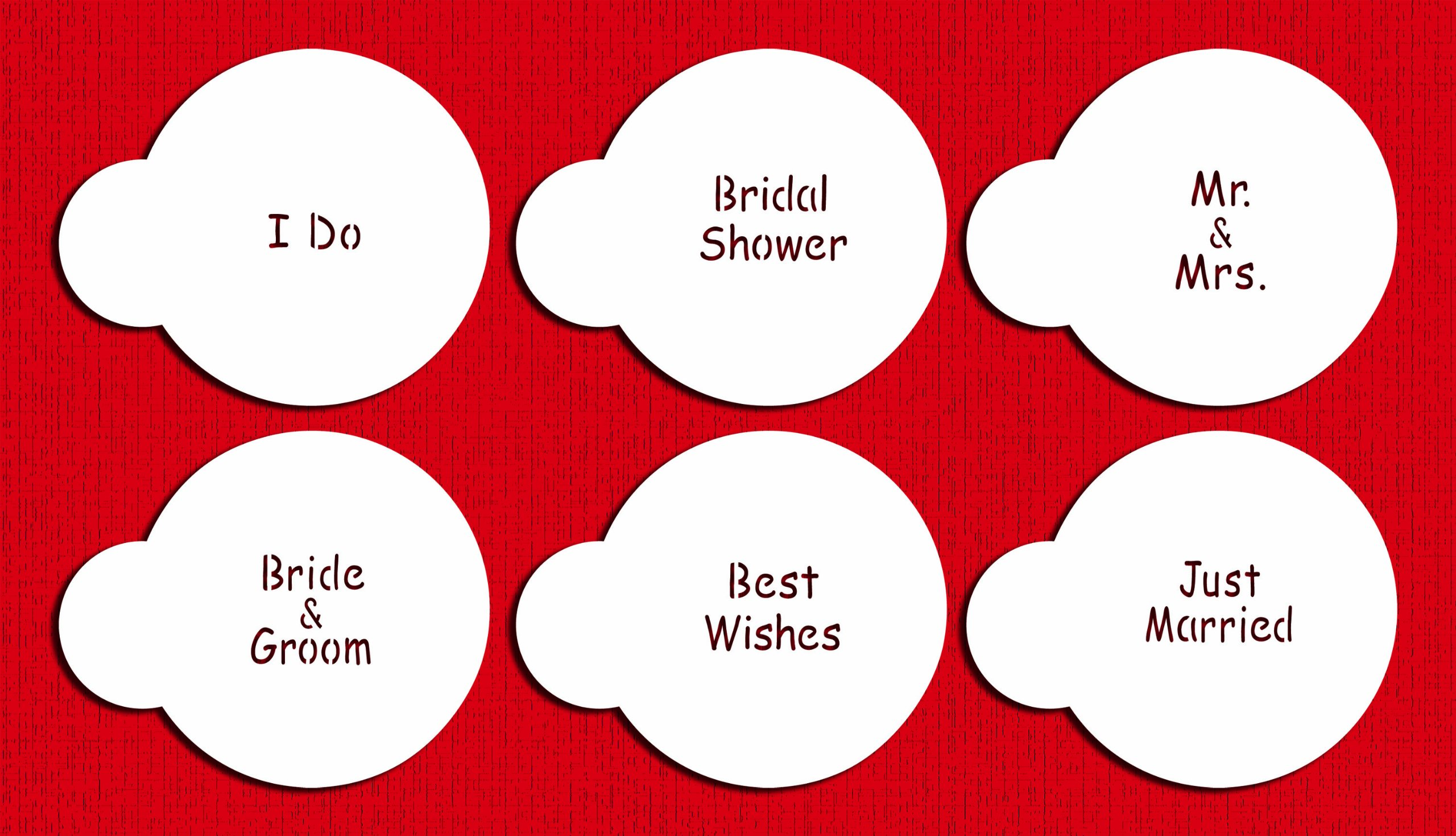 Designer Stencils C826 Wedding Lettering Cookie Stencil Set, (BRIDE & GROOM - BEST WISHES - JUST MARRIED - I DO - BRIDAL SHOWER - MR. & MRS) Beige/semi-transparent