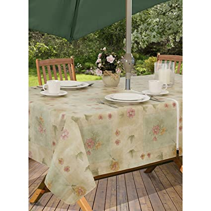 Peony Patch Flannel Backed Indoor Outdoor Vinyl Table Linens, 60 Inch By 84