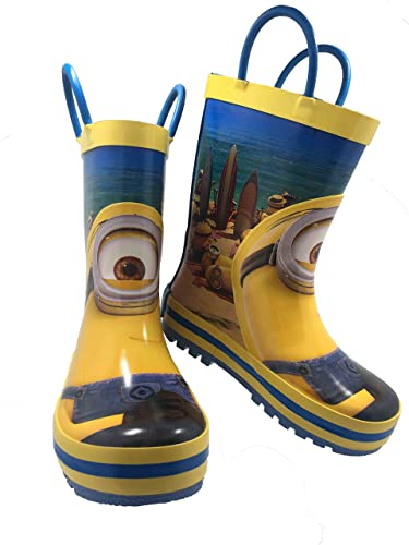 9db2b3a86b36 Minions Despicable Me Kids Rubber Character Rain Boots with Easy-On Handles  Yellow