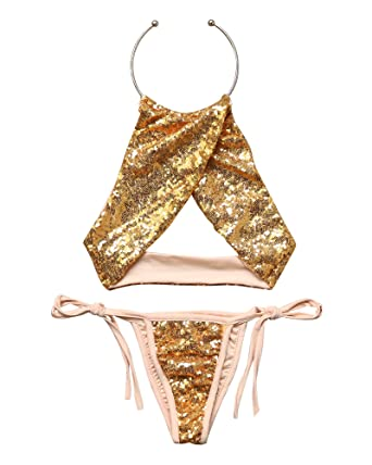 ab97f169e7 Amazon.com: MOOSKINI Womens Sexy Sequin Bathing Suit Bandage cross Bikini  Set Bling Swimsuit: Clothing