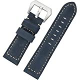 26mm Luxury Distressed Nubuck Navy Blue Leather Watch Bands Thick Rugged Military Style Oversized