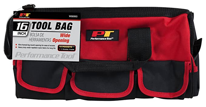 Performance Tool W88993 16-inch Easy Access Heavy Duty Wide Mouth Zip Close Top Tool Bag with Reinforced Base & 16 Pockets