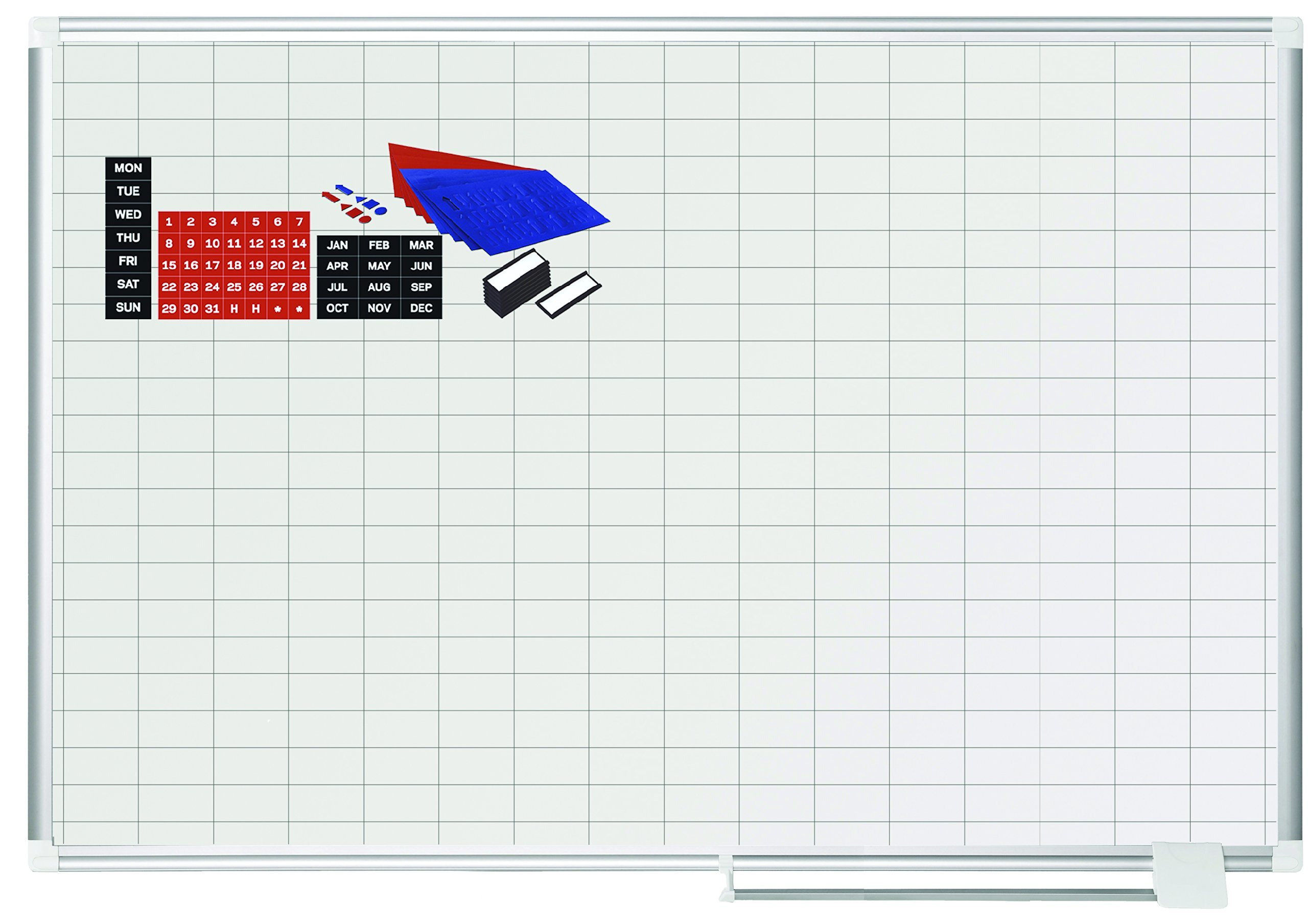 MasterVision MA0592830A Planning Board Magnetic Dry Erase 1'' x 2'' Grid Planner with Accessory Kit, 36'' x 48'', Aluminum Frame (Renewed)