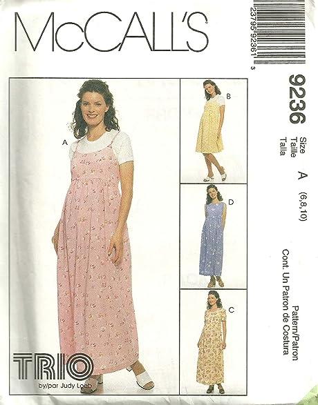Amazon.com: McCall\'s 9236 Maternity Dress Jumper Sewing Pattern Size ...