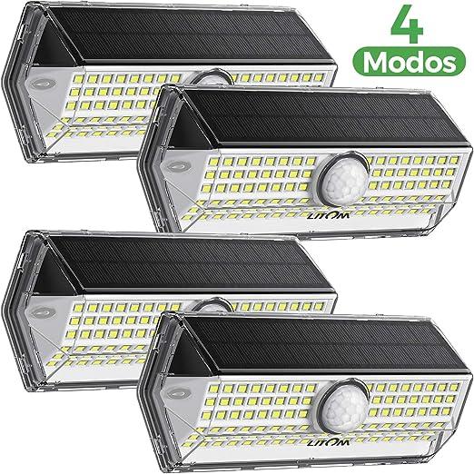 Luz Solar Exterior【Súper Brillante 4 Modos】con Sensor de Movimiento, LITOM Focos LED Exterior, IP67 Impermeable 100LEDs Luces Solares Luz Solar Jardín: Amazon.es: Iluminación