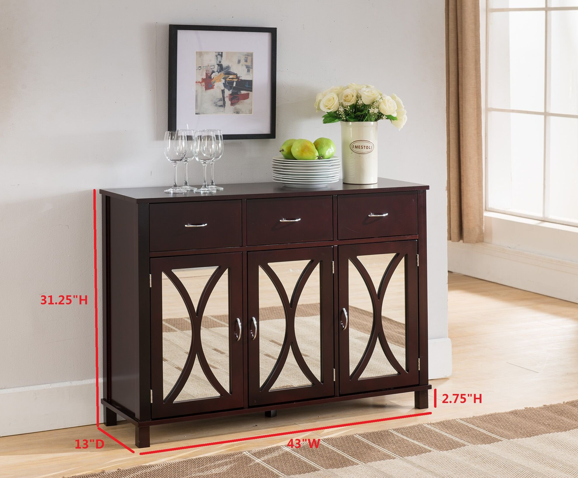 Kings Brand Rutheron Buffet Server Cabinet/Console Table, Mirrored Doors, Espresso by Kings Brand Furniture (Image #2)