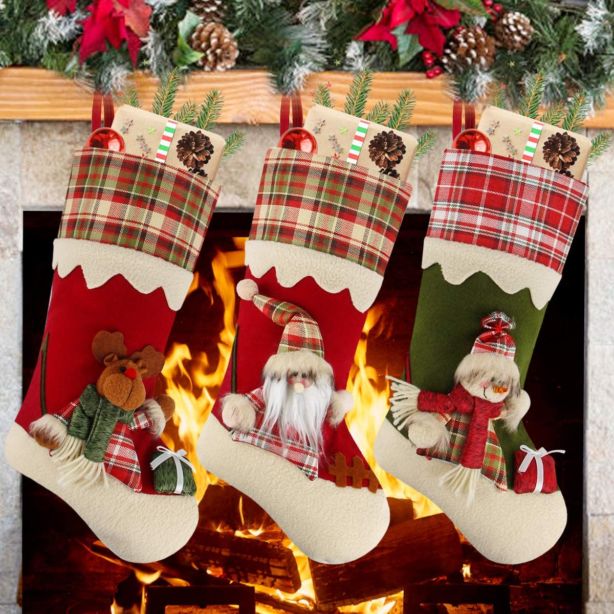 Aitey Christmas Stockings, 18 inches Large Family Christmas Stockings Set of 3 Character Santa, Snowman, Reindeer 3D Plaid Plush with Faux Fur Cuff Xmas Decorations for Kids