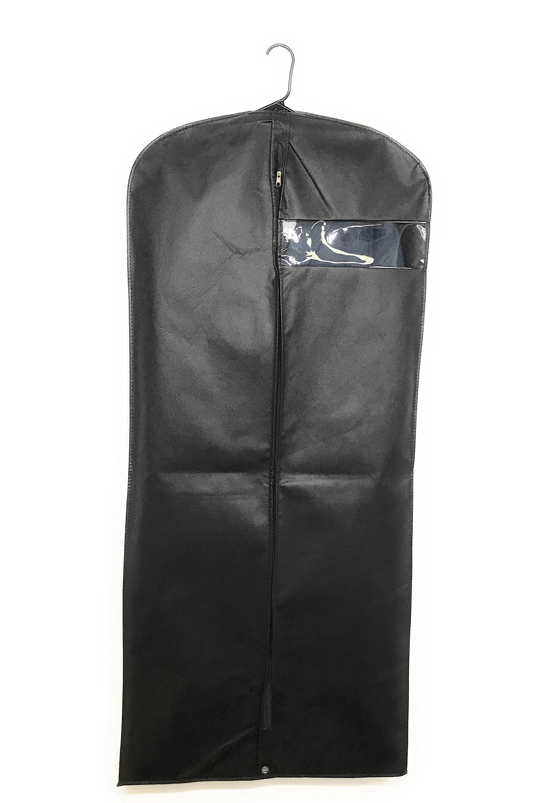 Garment Bag Covers By MYTH21 for Luggage, Dresses, Linens, Storage or Travel Suit Bags with Clear Window Pack of 5 (Black, 54) by MYTH21 (Image #1)
