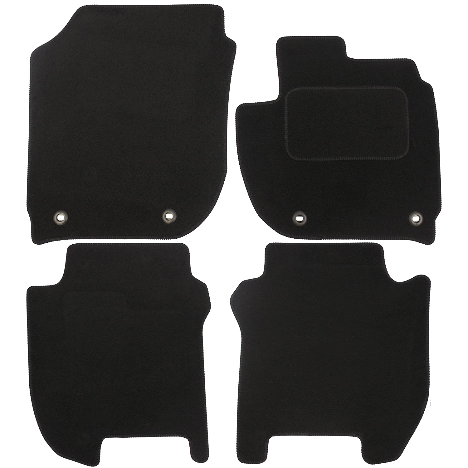 JVL Fully Tailored Car Mats with 4 Clips - Black, 4 Pieces 3636