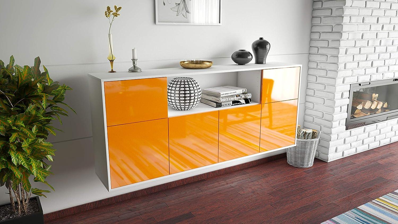 Dekati Sideboard West Valley City h/ängend Front Hochglanz Orange Push-to-Open 180x77x35cm Korpus Weiss matt