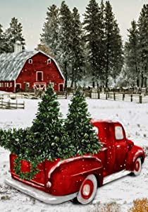"Texupday Welcome Christmas Red Truck Decoration Winter Snow Farmhouse House Flag Outdoor Yard Flag 28"" x 40"""