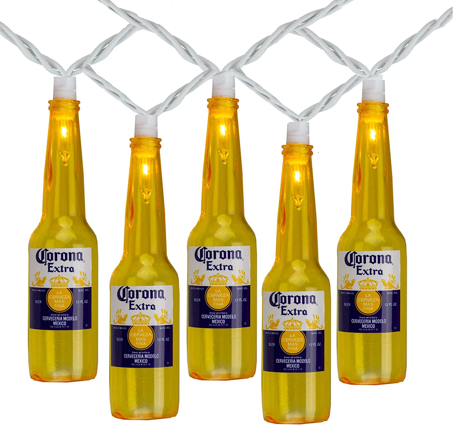 Amazon Com Northlight 10 Count Clear Corona Extra Beer Bottle Summer Patio Light Set 9ft White Wire Garden Outdoor