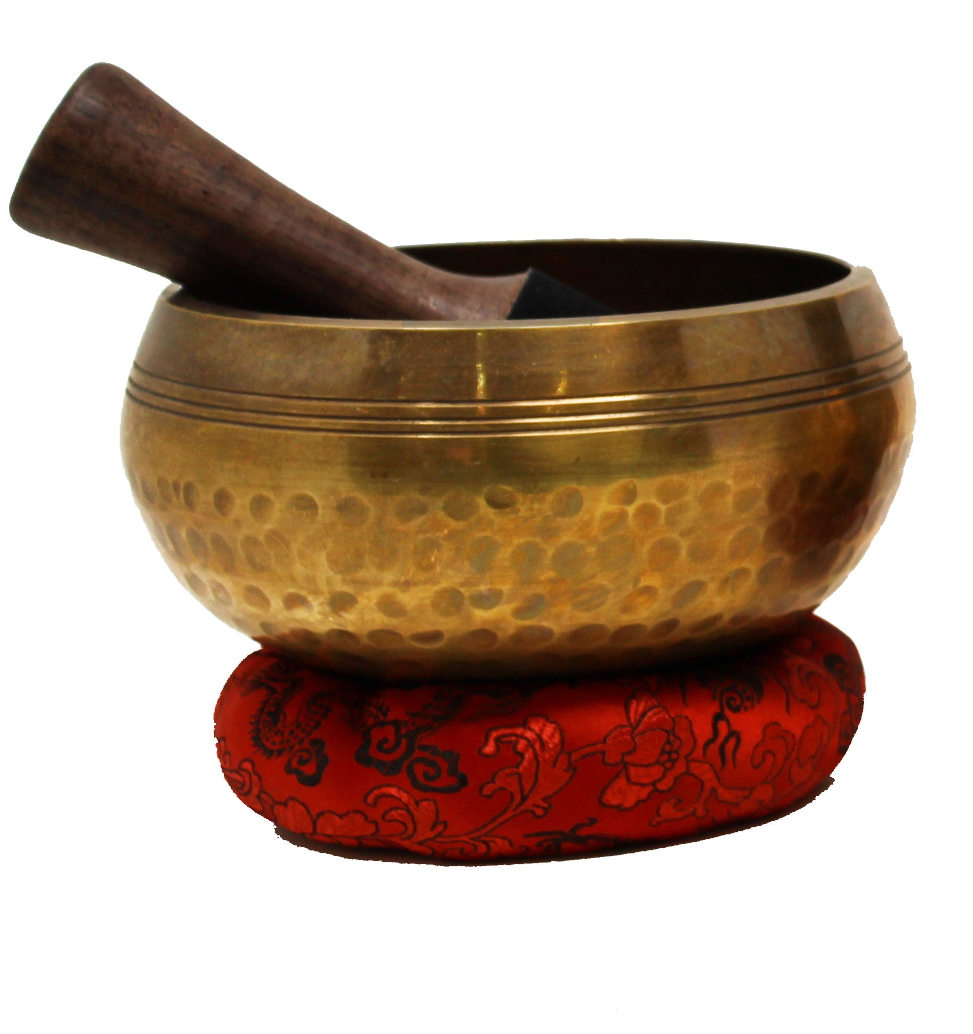 Hand Hammered Tibetan Singing Bowl Set with Deep Resonating Sound ~ For Mindfulness Meditation, Relaxation, Stress & Anxiety Relief & Yoga~ With Mallet, Cushion & Instruction (Large - 6 inch)