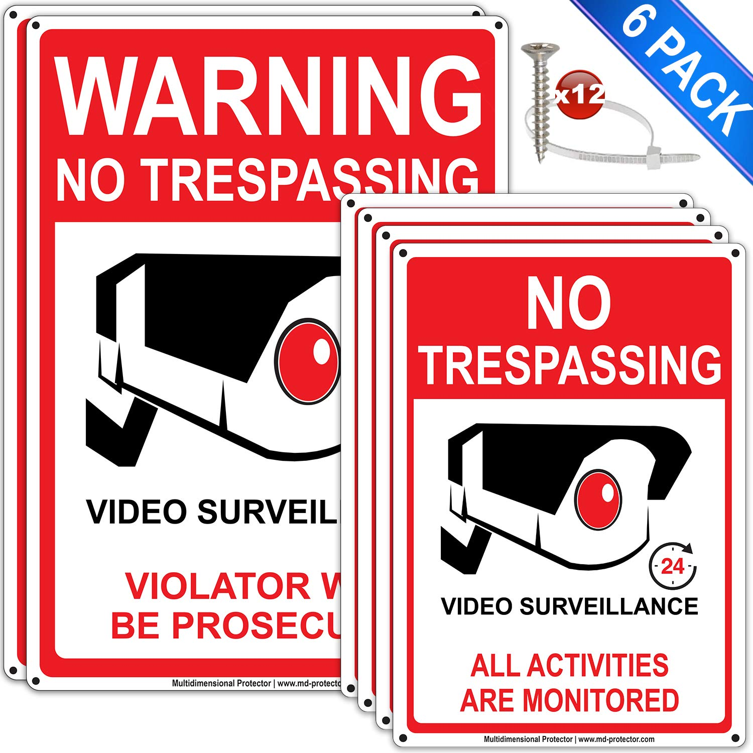 6Packs No Trespassing Signs Private Property 7''x10'' 4pcs, 24 Hour Video Surveillance Sign Outdoor Indoor 10''x14'' 2pcs .040 Reflective Aluminum, Anti UV Security Camera Sign with Screws and Zip Ties by MD-Protector