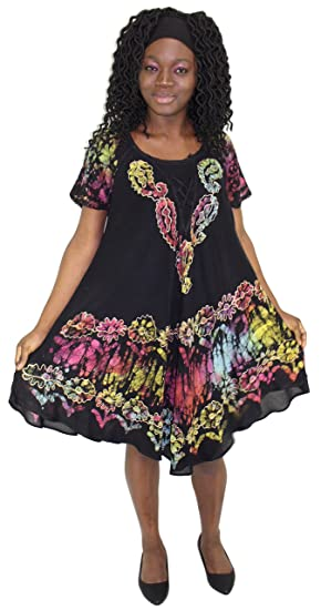 252d9506803 Tye It Up Black Batik Embroidered Dress Sundresses For Women (A) at Amazon  Women s Clothing store