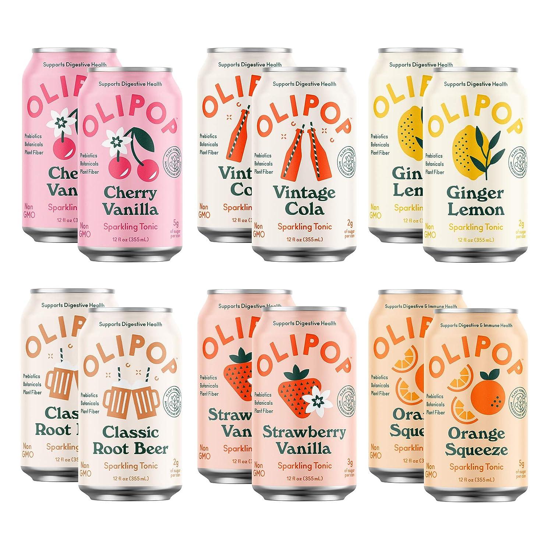 OLIPOP - 6-Flavor Soda Variety Pack, Healthy Soda Sampler, Prebiotic Soft Drinks, Supports Digestive Health & Gut Health, 9g of Dietary Plant Fiber, Low Calorie, Low Sugar, Vegan (12 oz, 12-Pack)