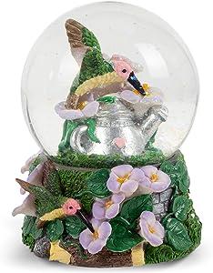 Elanze Designs Hummingbirds Purple Flowers Garden 100MM Music Water Globe Plays Tune A Few of My Favorite Things