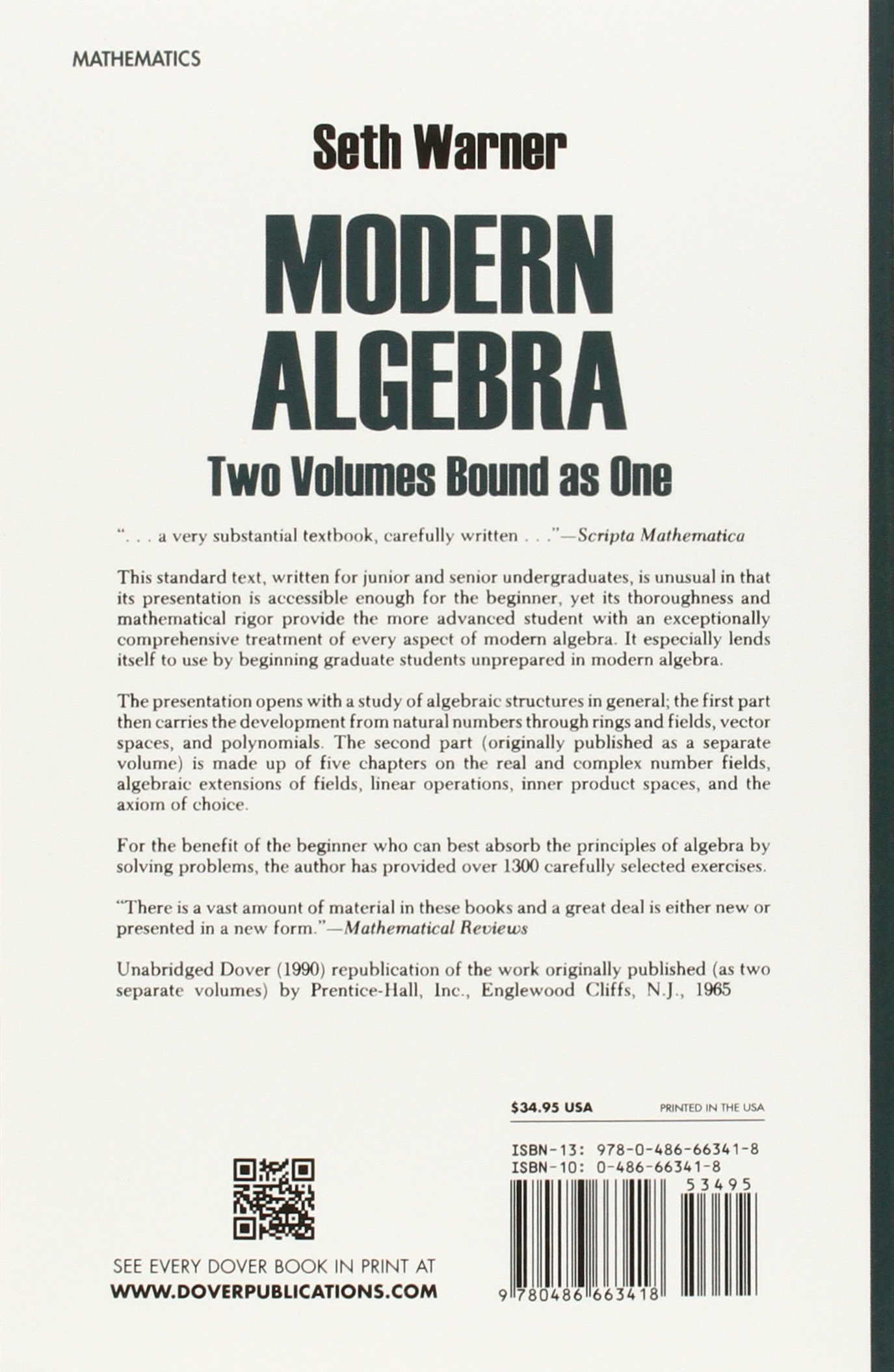 Modern Algebra Dover Books On Mathematics Seth Warner