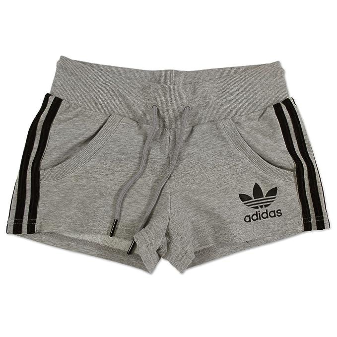 adidas Originals Damen C62 Chile 62 Retro Sweat Shorts Sport Hose SCHWARZ GRAU