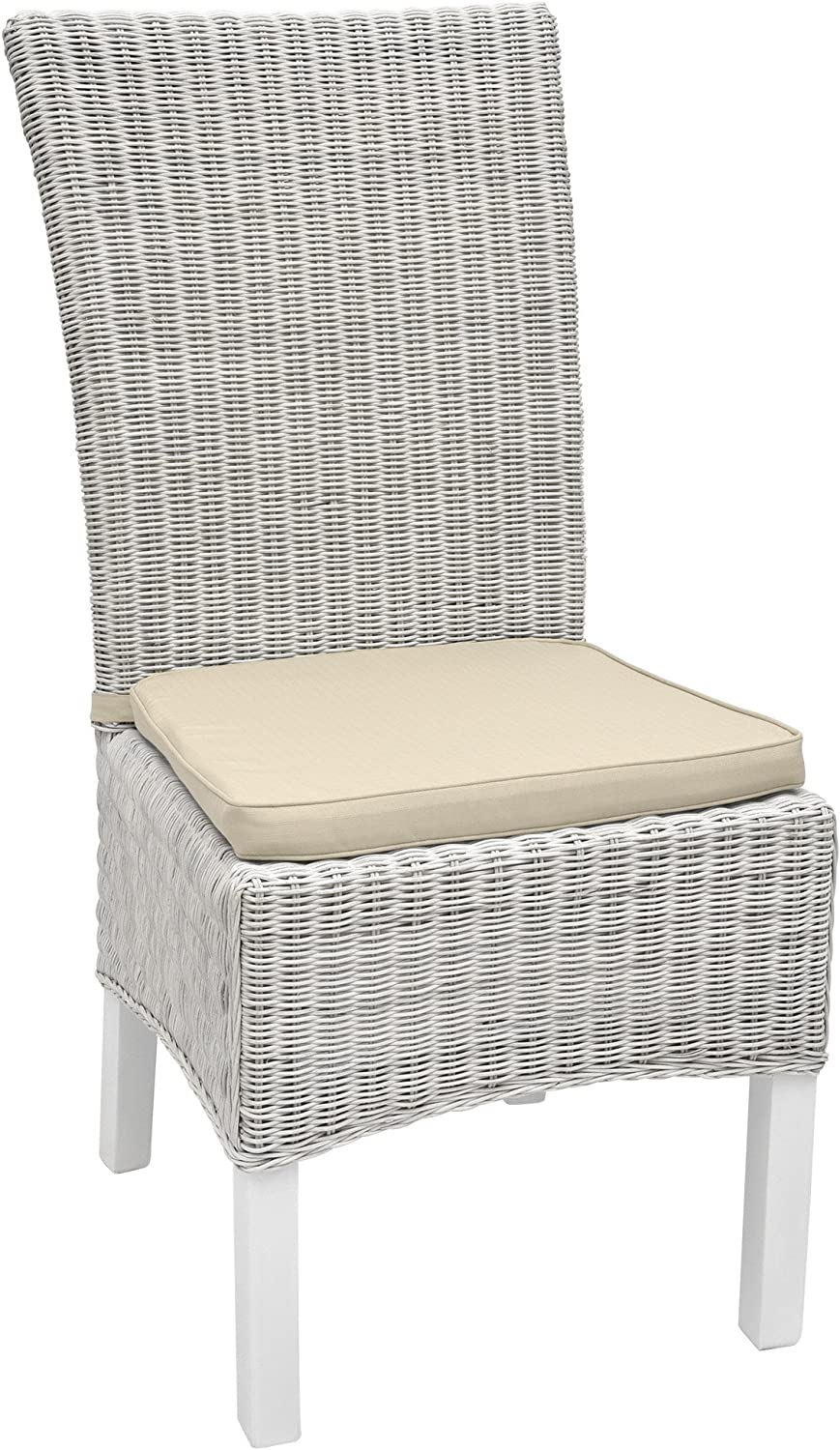 Beautissu Seat Cushion Pia Chair Pad for Rattan Garden /& Dining Chairs 45 x 40 x 5 cm Removable Covers Natural