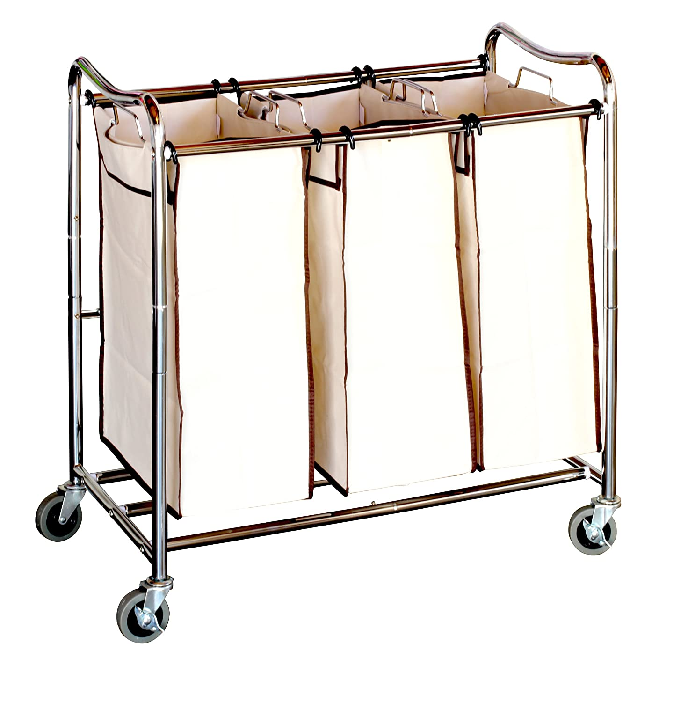 amazoncom decobros heavyduty 3bag laundry sorter cart chrome home u0026 kitchen