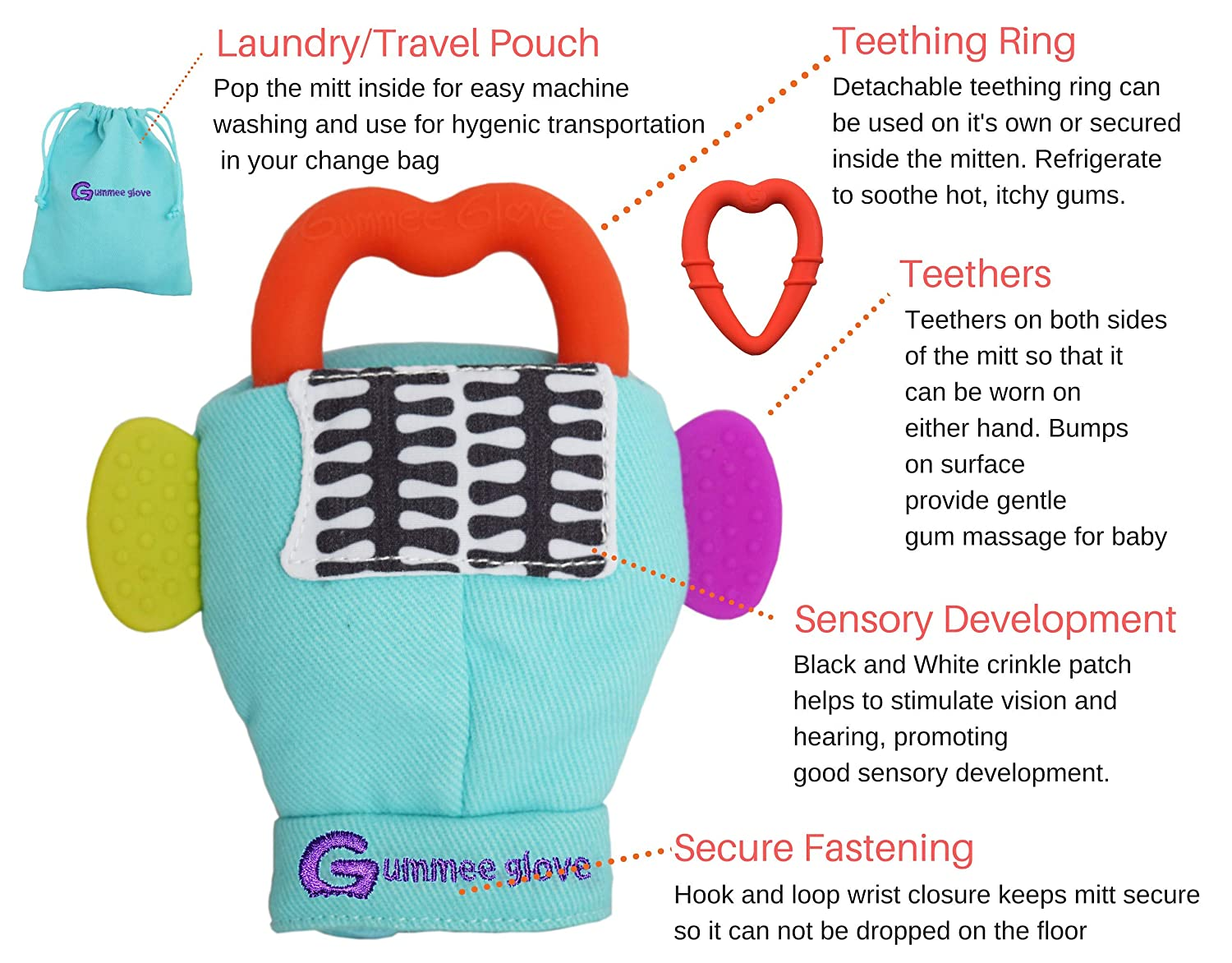 Undroppable Soothe Babies painful gums naturally Multi-Award Winning Product Gummee Glove Baby Teething Mitten for babies 3m with Detachable Teether Ring Toy and travel Bag Safe Premium Quality 100/% Cotton Yellow