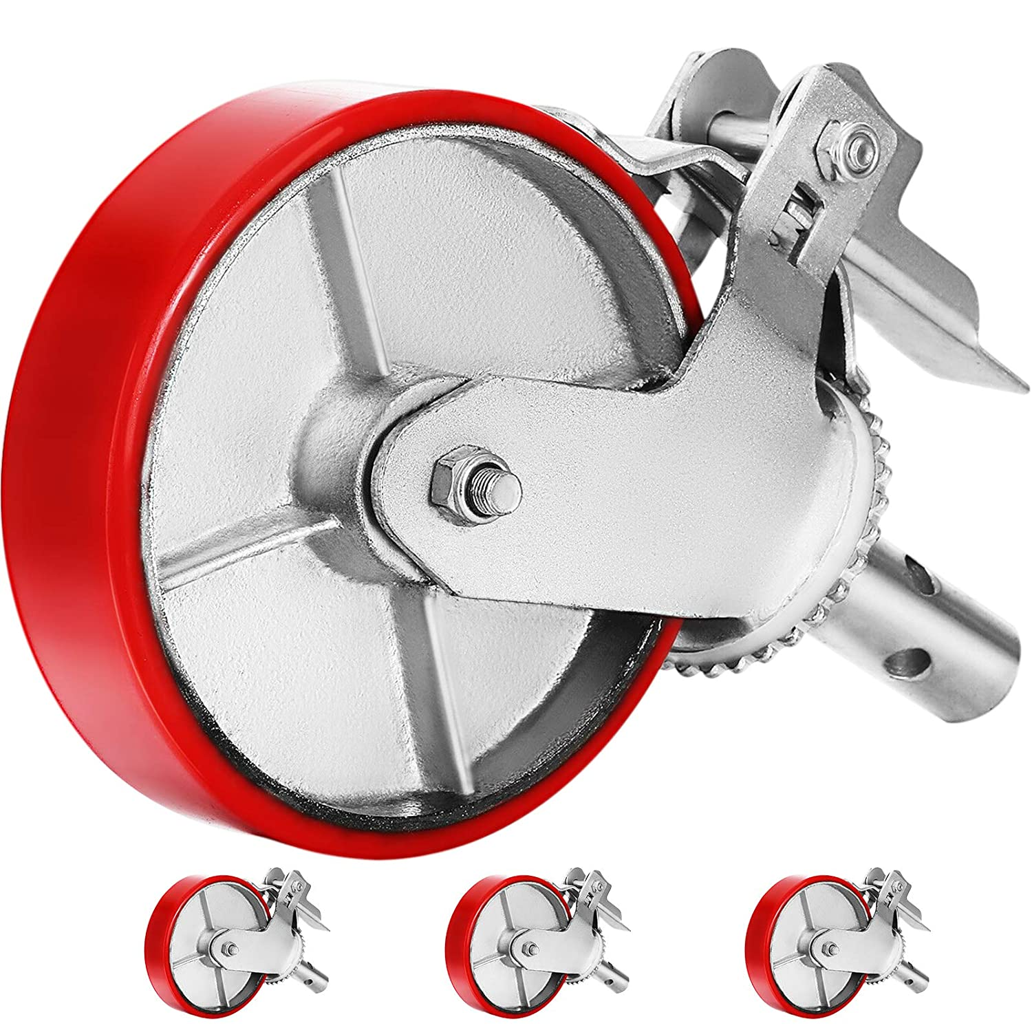 OrangeA Scaffold Casters Shelves - Scaffolding Wheels Heavy Duty Red Polyurethane Set of 4 Workbench 8 Replacement for Scaffold Stem Swivel Casters with Brake 4400 Lbs Per Set