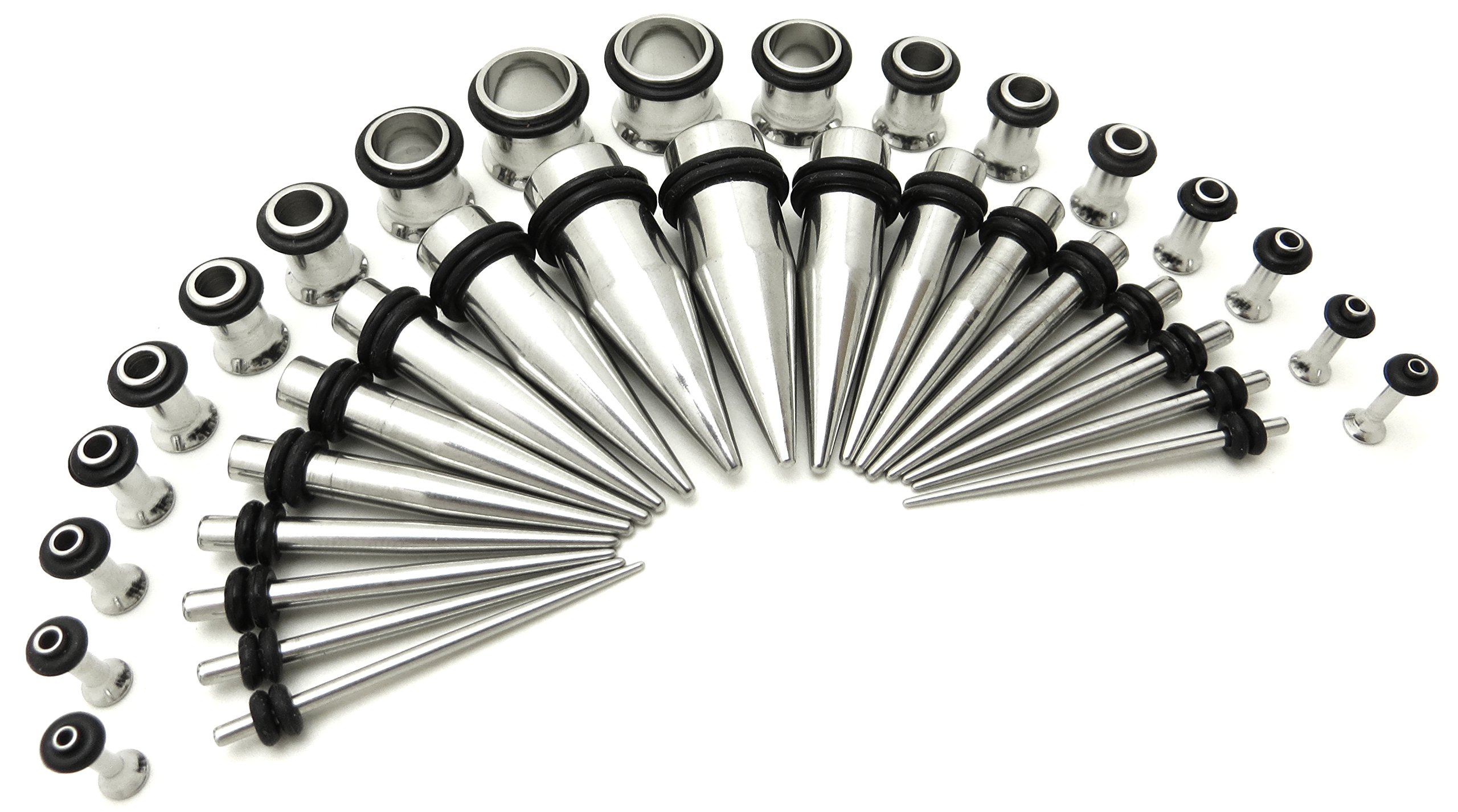 Stainless Steel Ear Stretching Taper and Tunnel Starter Kit - 36 Piece Set 14G to 00G Gauge