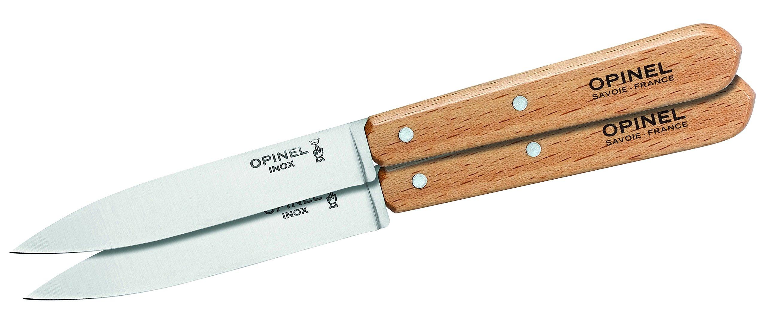 Opinel 112 Natural Varnished Handle Kitchen Paring Knife (Box of 2), 10 cm Blade