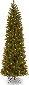 National Tree Company 'Feel Real' Pre-lit Artificial Christmas Tree   Includes Pre-strung Multi-Color LED Lights and Stand   Downswept Douglas Fir Pencil Slim - 7.5 ft