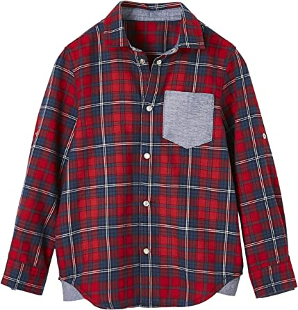 VERTBAUDET Camisa a Cuadros con Motivo Grande detrás, para niño Rojo Oscuro A Cuadros 4A: Amazon.es: Ropa y accesorios