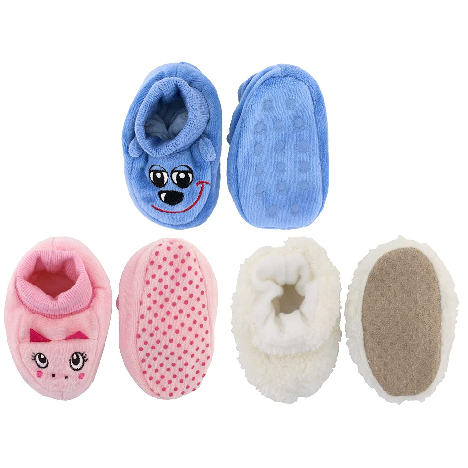 53cce74b2 Amazon.com: Infants Toddler Soft Warm Plush Cozy Fuzzy Cartoon Animal  Slippers Booties Socks/Shoes - A05: Clothing