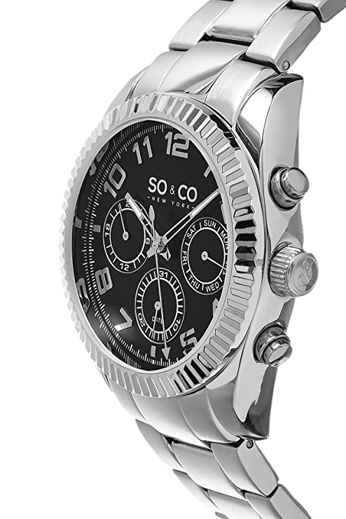 Amazon.com: SO&CO New York Mens 5009.1 Madison Quartz Day and Date Black Dial Stainless Steel Link Bracelet Watch: SO & CO New York: Watches