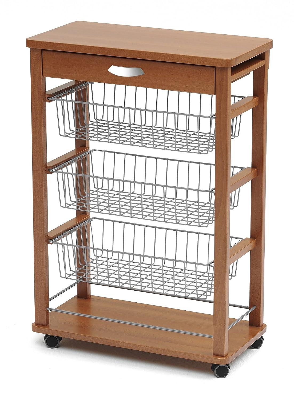 ARROTAMENTI ITALIA Küchenwagen GASTONCINO, Holz - - - 4 Körbe - Aufklappbar - Farbe  Weiß AR-It il Cuore del Legno 4f9a92