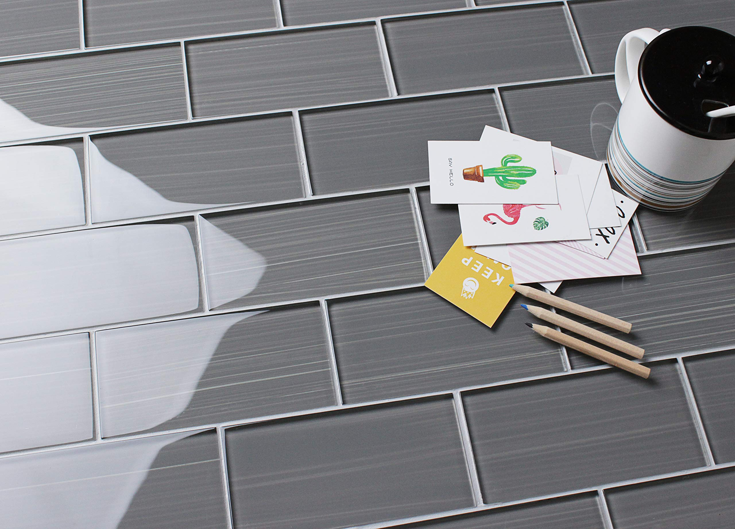 Glass Subway Backsplash Tile Bambu Hand Painted Series for Kitchen and Bathroom by WS Tiles - WST-12C (3'' x 6'' Mosaic 5 SqFt, Dark Gray)