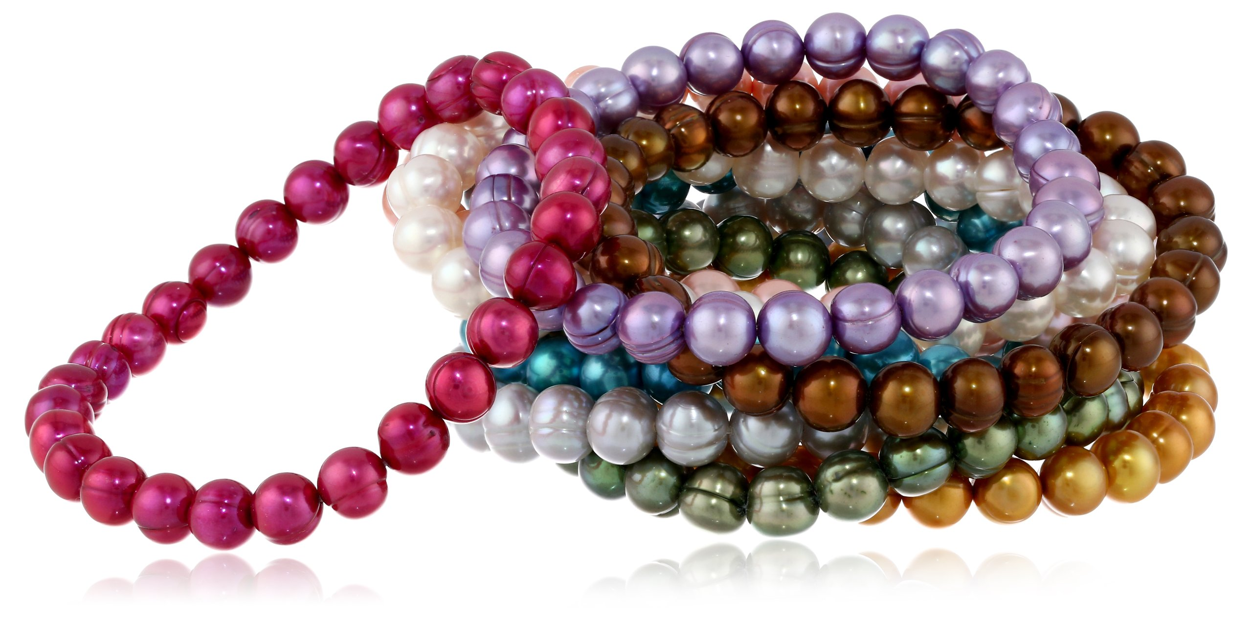 Honora Set of 10 Multi-color Freshwater Cultured Pearl Stretch Bracelets, 7.5''