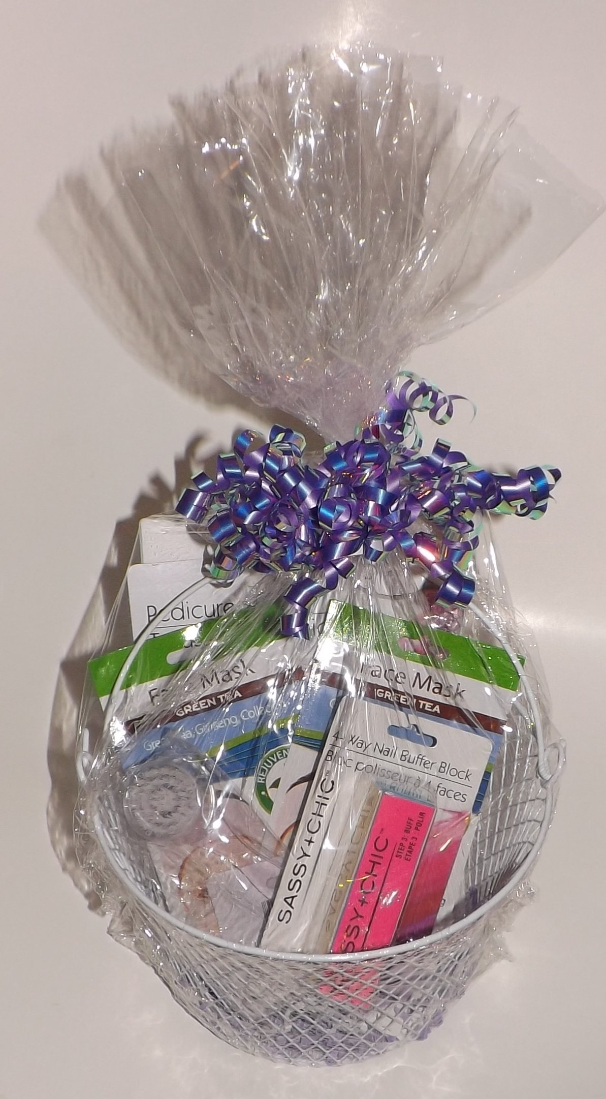 Gift Basket Mother's Day Birthday Bundle - 11 piece - Includes Pedicure set, Eye Mask, Face Masks, Nail Buffer Block, Facial Brush and a Reusable Basket