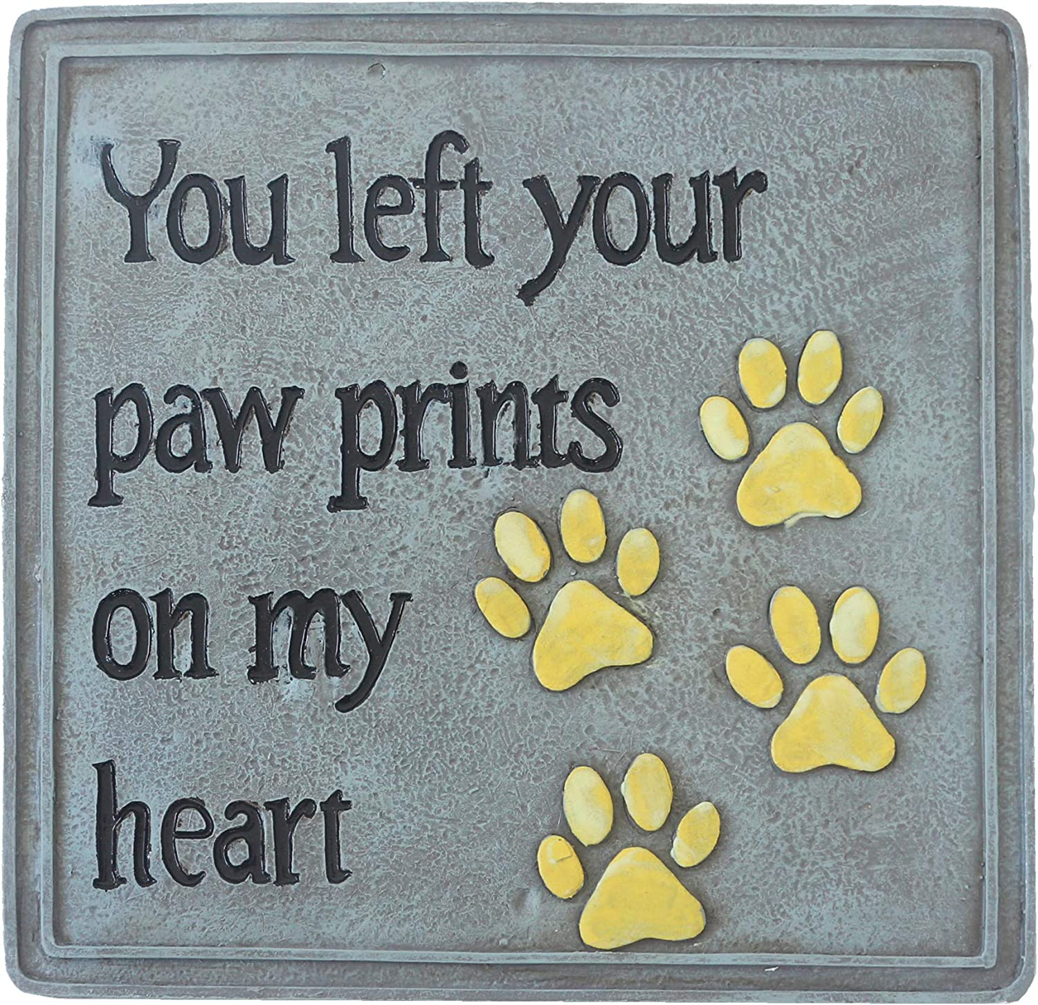 Qingbei Rina Aflowa Pet Memorial Stepping Stone with Paw Print Outdoor Resin Garden Stone Dog Loss Sympathy Gift Remembrance Plaque