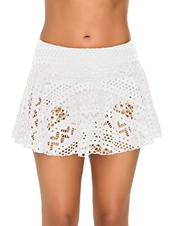d9d71c2d67 Amazon.com  GRAPENT Women Crochet Lace Skirted Bikini Bottom Solid Short  Swim Skirt Swimsuit  Clothing