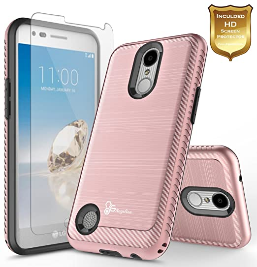 buy popular 36f12 e44d3 LG Fortune Case (M153 Cricket) with [Tempered Glass Screen Protector],  NageBee [Carbon Fiber Brushed] [Heavy Duty] Defender [Dual Layer] Cover  Case ...