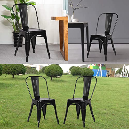 Metal Indoor-Outdoor Chairs Distressed Style Kitchen Dining Chair Stackable Side Chairs with Back Set of 4 Distressed Black