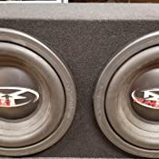 Q Power SOLO10 2HOLE-CHAR Dual 10-Inch Sealed Universal Speaker Box with Durable Charcoal Carpet