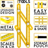 iTools Multi Angle Template Tool - Angle-izer Measuring Ruler Layout Multi-angle Tool with Metal Knobs and Bolts - Perfect for Tiling, Flooring, Brick Laying, Deck Building (Yellow (Plastic))