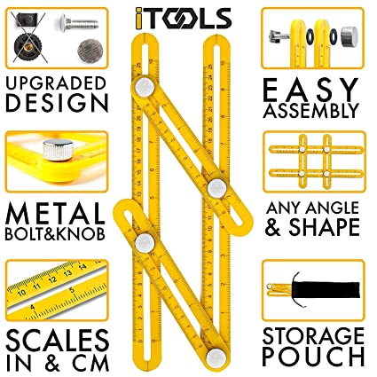 iTools Multi Angle Template Tool - Angle-izer Measuring Ruler Layout  Multi-angle Tool with Metal Knobs and Bolts - Perfect for Tiling, Flooring,  Brick