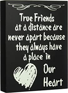 JennyGems Wooden Stand Up Box Sign True Friends at a Distance Are Never Apart Because They Always Have a Place in Our Heart - Home and Wall Decor Accents - Friendship Sign - Bestie