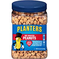 PLANTERS Dry Roasted Peanuts, 34.5 oz. Resealable Plastic Jar - Peanuts with Sea Salt - Peanut Snacks - Shareable Snacks - Heart Healthy Snacks for Adults - Great School Snack or Work Snack - Kosher