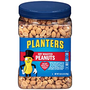 PLANTERS Dry Roasted Peanuts, 34.5 oz. Resealable Plastic Jar | Peanuts with Sea Salt | Peanut Snacks | Shareable Snacks | Heart Healthy Snacks for Adults | Great School Snack or Work Snack | Kosher
