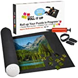 """Puzzle Roll Up Mat Premium Pump - Store and Transport Jigsaw Puzzles Up to 1500 Pieces - 46"""" x 26"""" Felt Mat, Inflatable Tube, and 3 Elastic Fasteners - Plus Bonus New Improved Pump"""